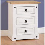 CORONA 3 DRAWER BEDSIDE CHEST WHITE 01